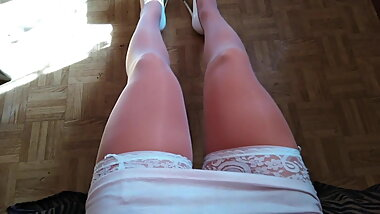 White Stockings, White heels and White dress